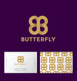 gold butterfly double b monogram seamless pattern vector image