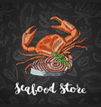 hand drawn colored seafood elements vector image vector image