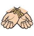 hands tied vector image vector image