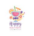 happy birthday logo colorful creative template vector image