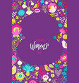 happy womans day calligraphy design on floral vector image vector image