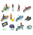 isometric bikers icon set vector image vector image