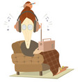 listening the radio old woman isolated vector image vector image