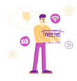 man holding huge box in hands with media icons vector image vector image