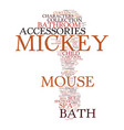 mickey mouse bath accessories text background vector image vector image