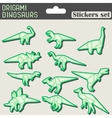 origami dinosaurs stickers set vector image vector image