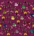 owls forest seamless pattern vector image vector image
