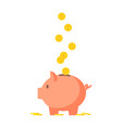 pig piggy bank with coins vector image