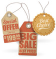 retro style cardboard sale tags vector image vector image