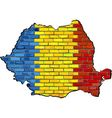 Romania map on a brick wall vector image vector image