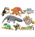 set cute cartoon animals and birds in amazo vector image