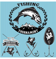 set emblems on topic fishing vector image vector image