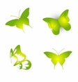 set of green butterfly icon symbol vector image