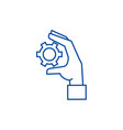 settings gears in hand line icon concept settings vector image