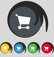 Shopping basket icon sign Symbol on five colored vector image