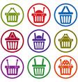 Shopping basket icons isolated on white background vector image