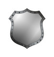 silver shield shape icon 3d gray emblem sign vector image vector image