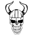 skull in viking helmet vector image vector image
