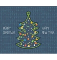 Stylized Christmas tree New Year greeting card vector image vector image