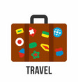 suitcase with stickers travel symbol vector image