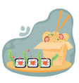 sushi and noodles on abstract bubble background vector image vector image