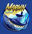 t-shirt design marlin at sea vector image vector image
