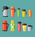 thermoses and thermo mugs set red plastic vector image vector image