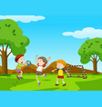 three boys playing ball in the park vector image vector image