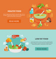 two healthy eating banner set vector image vector image