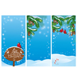 vertical banners with fir tree branches and bullfi vector image