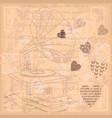 vintage background with different hearts vector image vector image