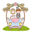 woman and man wedding in the car with flowers vector image