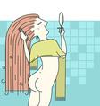Woman combing hair in her bathroom vector image