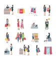 Woman Shopping Flat Icons vector image