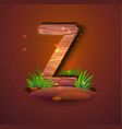 wooden letter z decorated with grass vector image vector image