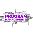 word cloud program management vector image vector image