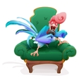 Blue Rooster symbol 2017 Rooster in chair singing vector image