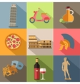 Set of Italy travel colorful flat icons Italy vector image