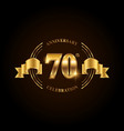 70 years anniversary celebration logotype golden vector image vector image