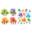 a set flat silhouettes trees various vector image