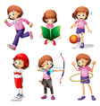 A young girl doing different activities vector image vector image