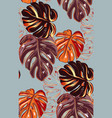 autumn fall monstera leaves plant seamless vector image