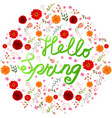 beauty spring text with colorful flower vector image