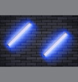 blue neon lamp on black brick wall vector image vector image