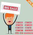 Business man show sticker tag - - EPS10 vector image vector image