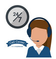 call center woman headset service 24 7 vector image vector image