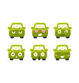 car emoticons set cute green car cartoon vector image vector image