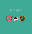 cartoon comic coffee cup and donut take coffee vector image vector image