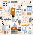 childish seamless pattern with cartoon city life vector image vector image