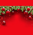 christmas background with red baubles vector image vector image
